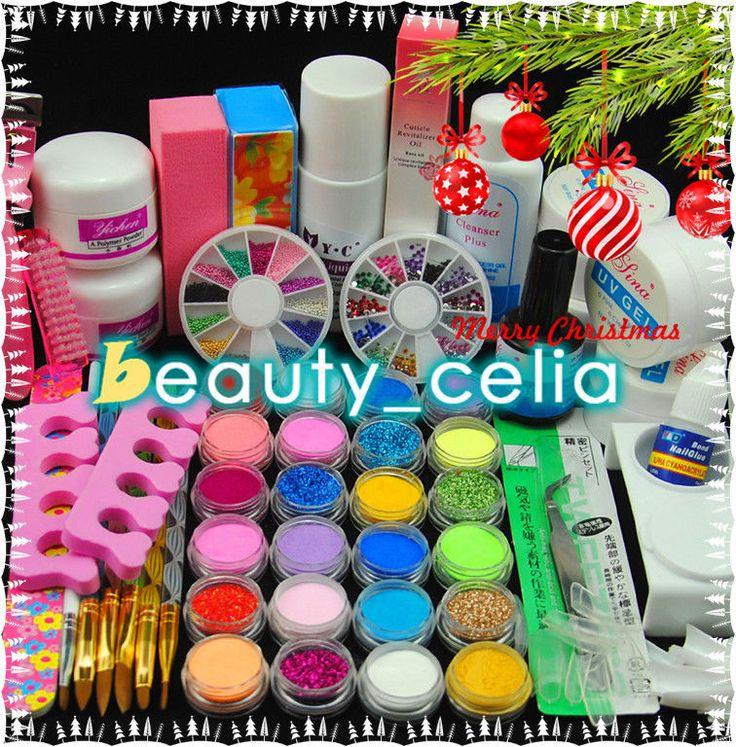 Pro 24 Color Acrylic Powder Nail Art Glitter Liquid UV Top Base Gel Tips Kit Set in Health & Beauty, Nail Care, Manicure & Pedicure, Manicure/Pedicure Tools & Kits | eBay