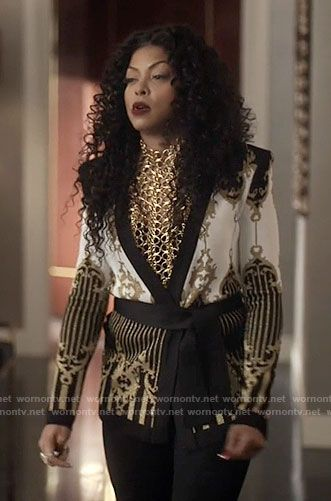 Cookie's black, white, and gold patterned jacket on Empire. Outfit Details: https://wornontv.net/69221/ #Empire