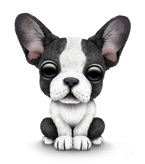 jeff bartel art | Cute French Bulldog Puppy Print by Jeff Bartels
