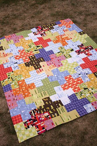"Tutorial for this ""Plus Quilt"" - good to show off med-large scale prints"