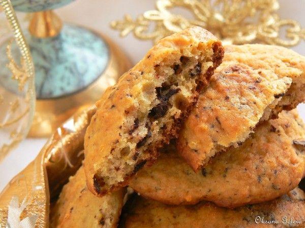 Апельсиновое печенье с рикоттой и шоколадом (меньше сахара, больше шоколада)