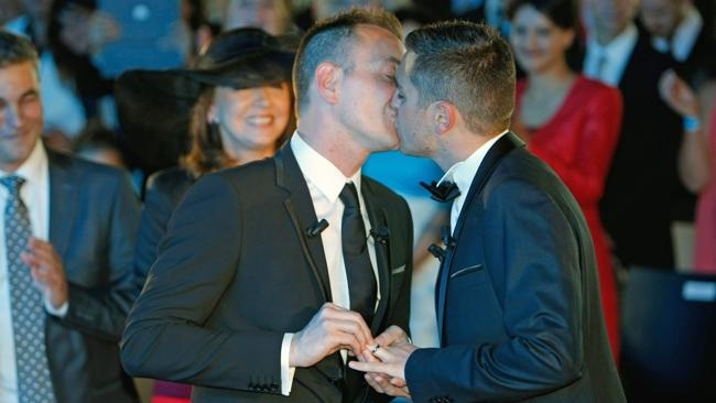 First same-sex marriage held in France following legalisation of gay marriage Doesn't this just give you warm and fuzzy goose bumps all over?  Argh!