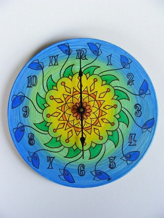 Sunflower Mandala Record Clock by EyePopArt on Etsy, $55.00