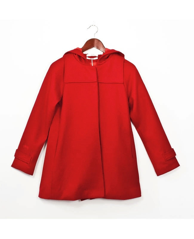 Monroe Wool Coat from Stussy  Channel your inner little red riding hood, with this fairytale wool cloak from Stussy.  Upper cut finishing abounds in this feminine cut jacket; featuring snuggly hood, hidden front domes and buttons, two front pockets for your mitts, and a neat back pleat adding a swing dimension to the shape when you walk $159
