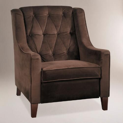 One of my favorite discoveries at WorldMarket.com: Chocolate Victoria Velvet Tufted High-Back Chair