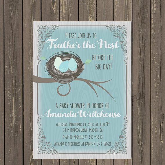 Bird Nest Baby Shower Invitation Feather the by PartyPopInvites