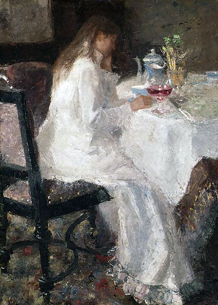 """Lady in white""  Portrait of Annie Toorop-Hall (1885)"
