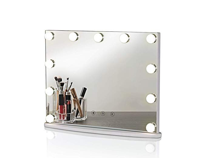 Luxfurni Hollywood Tabletop Makeup Mirror W Usb Powered Dimmable Light Touch Control Cold Warm Light Review Mirror Warm Light Makeup Mirror Tabletop makeup mirror with lights