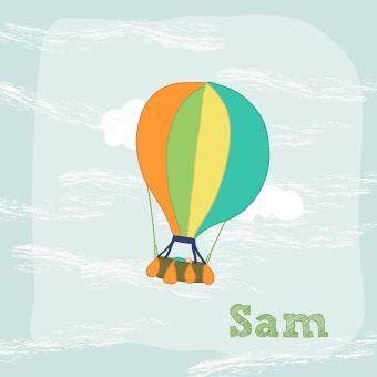 BrengOver | Sam, geboortekaartje neutraal ballon illustratie