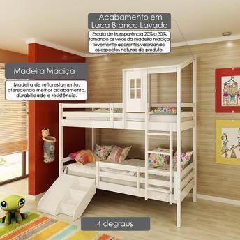 Beliche infantil Teen Play com Grade de Proteção Dupla, Telhadinho II e Mini Escada com escorregador - Casatema