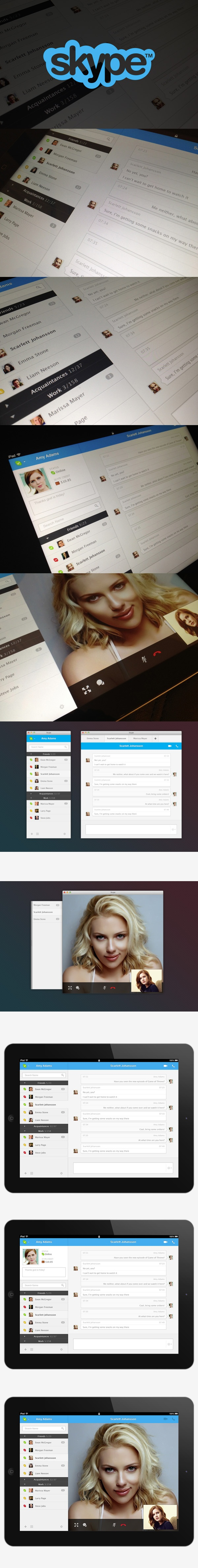 "SKYPE UI by Leonardo Zakour, via Behance *** "" This is a concept of the Skype application for iPad and MacOS (Applicable for Win too). The main idea was to work over different user interface elements to enhance the overall usability and user experience. """