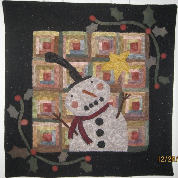 """23"""" Square Hand-Hooked Rug: Snowman w/Log Cabin background"""