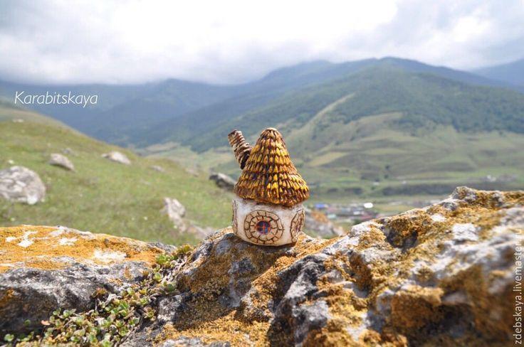 Купить Хатка - коричневый, сепия, лето, пейзаж горы, сувенир, дом, домик, статуэтка, скульптура