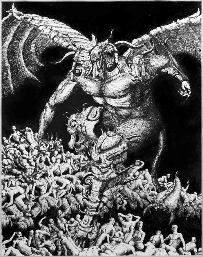 Chernobog - Chernobog é uma divindade da mitologia eslava. Seu nome significa deus negro.  Sua caracterização como divindade ctônica, relacionada à morte e à escuridão, levou-o a ser utilizado como um personagem sombrio em obras contemporâneas como a ópera Mlada, de Nikolai Rimsky-Korsakov , e o segmento A Night on Blad Mountain, do desenho animado Fantasia, de Walt Disney, inspirado em composição de Mussorgsky