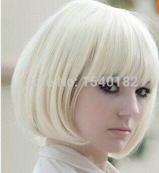 Короткий прямой белые волосы полные + бесплатная крышка парик короткий боб парики дешевой цене оптовая продажа тепла