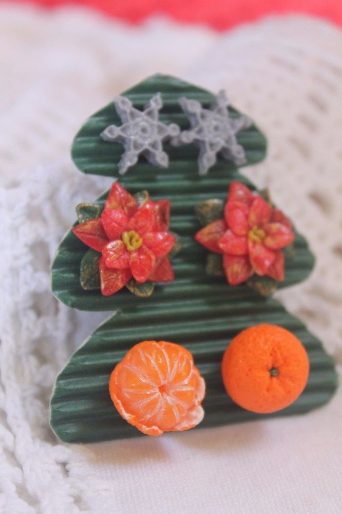 Christmas earrings/Poinsettia flower/Snowflake/Orange Mandarin/ Handmade #Handmade #stud