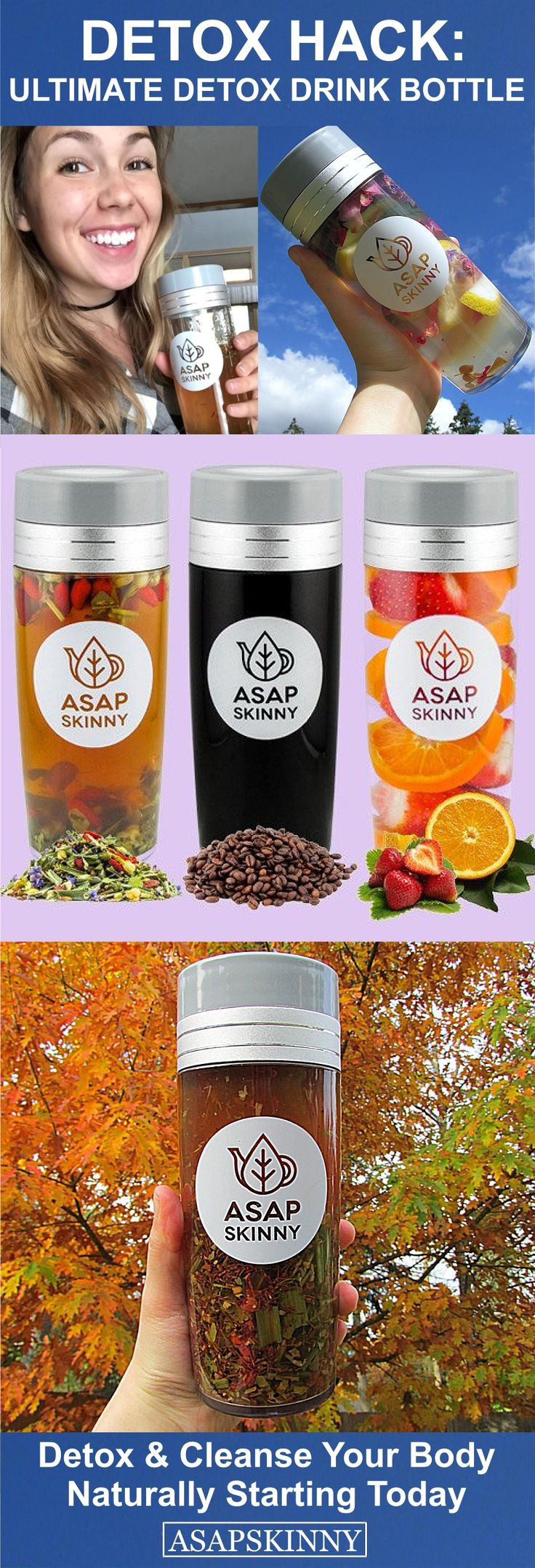 Detox & Cleanse with ASAPSKINNY! Kickstart Your New Healthy Lifestyle Starting TODAY. Our Versatile Tea Infuser Bottle comes with a FREE Removable Mesh Strainer/Steeper. Use it to Make Loose Leaf Tea, Fruit Infused Water or Coffee. Detox Your Body with Ease. Hurry, Selling Out FAST! SHOP NOW ➡ www.asapskinny.com