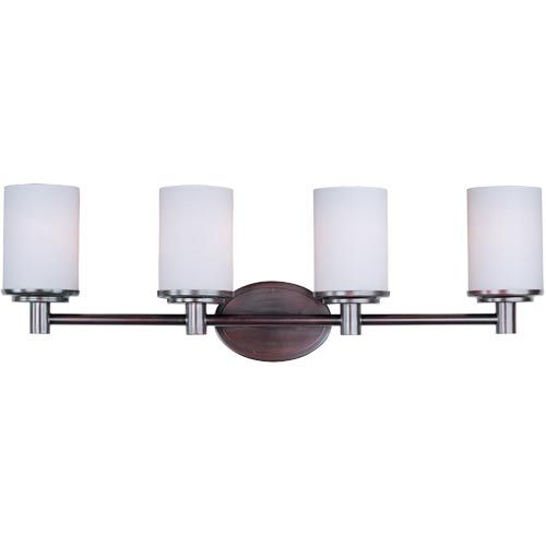 Cylinder oil rubbed bronze four light bath light with satin white glass