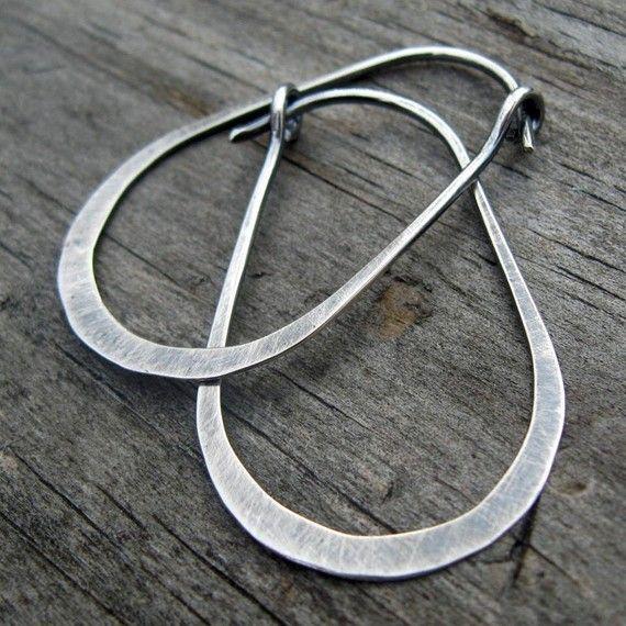 Gunnysack aros - plata oxidada stelring oblonga aros