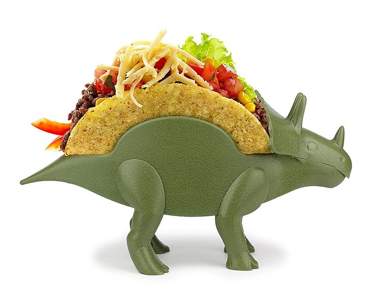 TriceraTACO, A Prehistoric Triceratops Taco Holder That Can Carry Two Tacos on Its Back