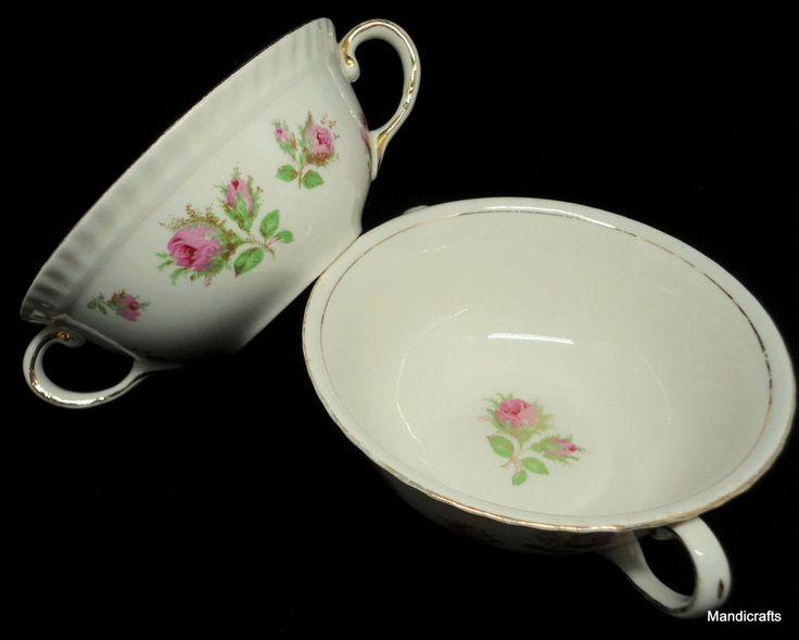 Johnson Bros Cream Soup #Bowl x 2 Old English Pink #Rose 5in Handles Vintage #JohnsonBros