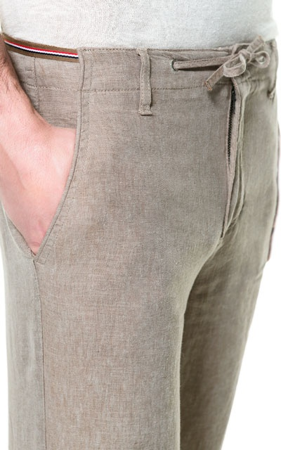 LINEN TROUSERS WITH RIBBON WAISTBAND - Trousers - Man - ZARA India  Ref. 6861/461  2,790 INR