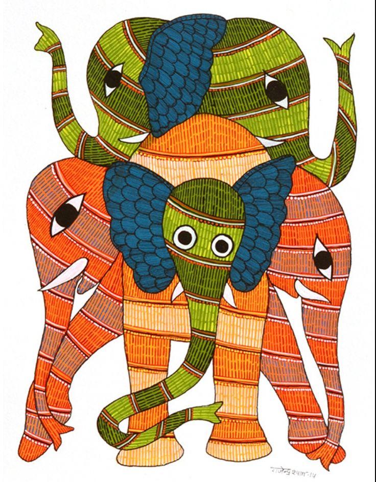 'Elephants' by Rajendra Shyam via FolkPaintingsIndia
