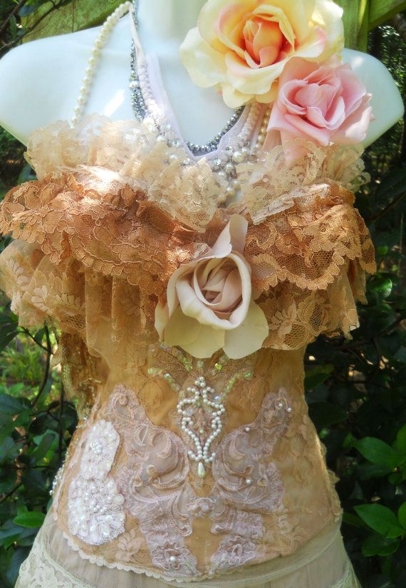 Beige lace bustier tea stained victoriana steampunk  appliques beading  romantic 34DD by vintage opulence on Etsy