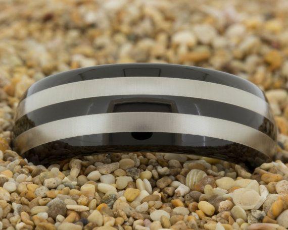 Black Tungsten Ring Free Inside Engraving by PebbleBeachTreasures