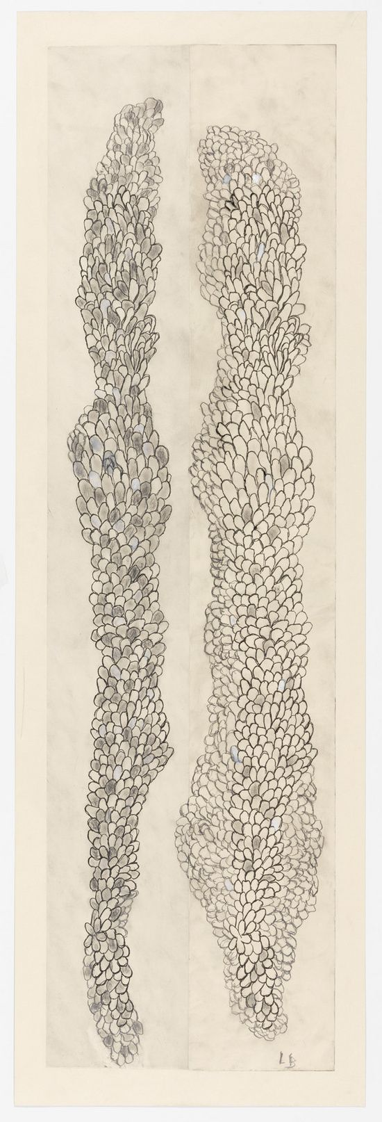 Louise Bourgeois, Tous les deux (Swaying), 2006 Etching, ink, gouache and pencil on paper 59 x 19 in