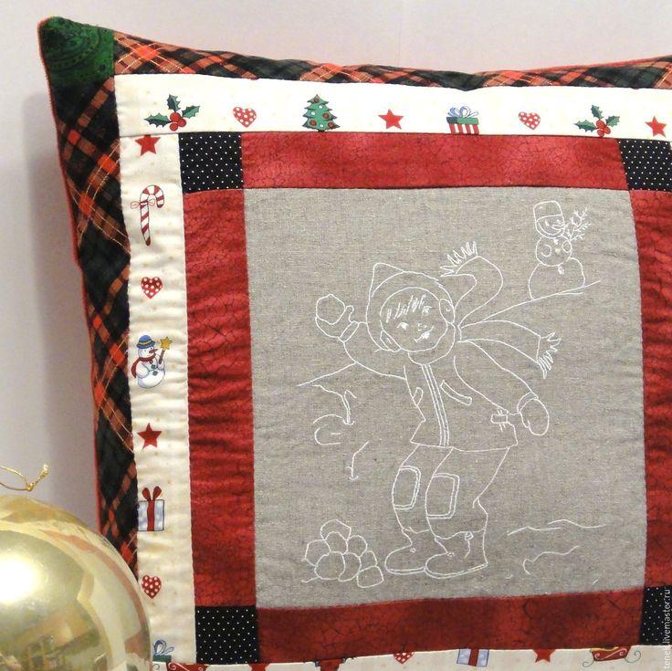 Купить Рождественская подушка диванная Снежки Винтаж Подарок новый год 2017 - декоративная подушка