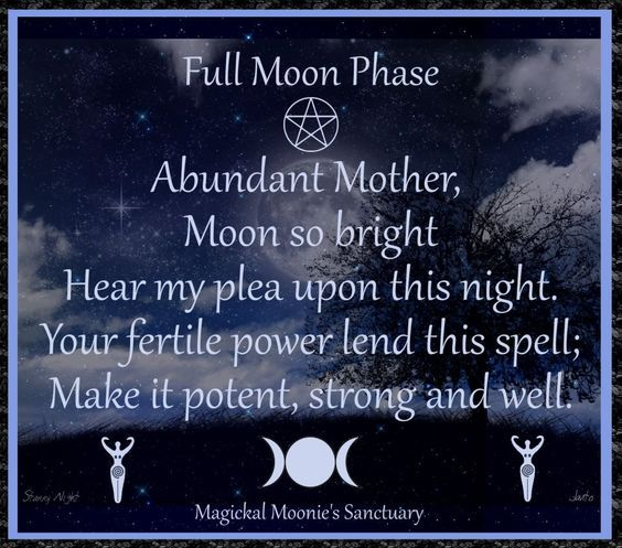 Magickal Moonie's Sanctuary  The Full Moon    Full Moon is when the moon has reached its zenith, it forms a perfect silvery sphere in the sky. This is a time for spells that transform, increase psychic ability, for fertility spells and invocation to lunar goddesses.
