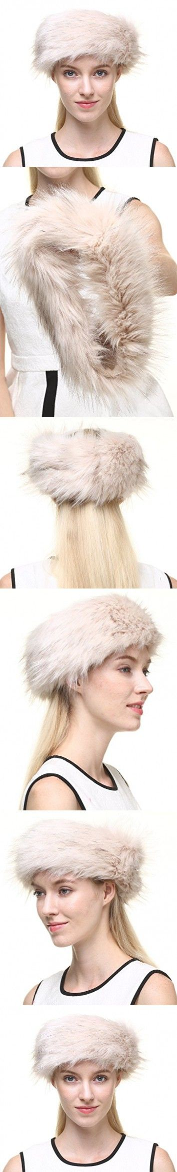 Vogueearth Women's Winter Faux Fur Earwarmer Earmuff Ski Hat Headband Beige