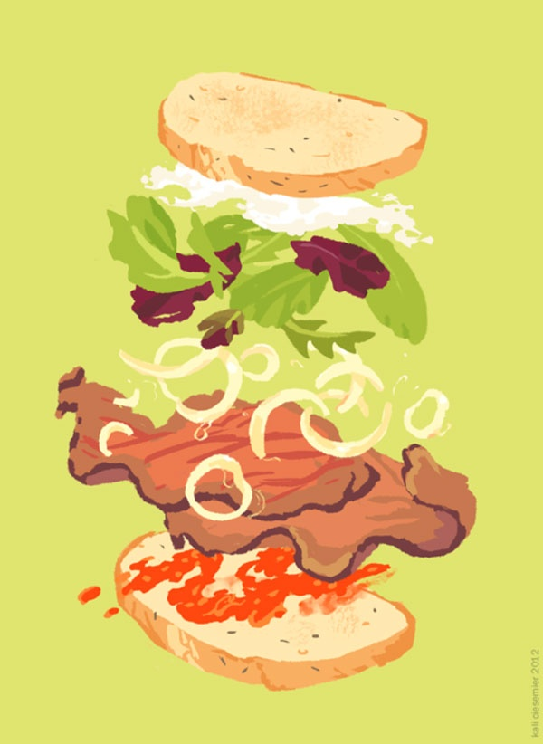 Kali Eats! – more (exploded food) images @ http://www.juxtapoz.com/Illustration/kali-eats – #Illustration #Food
