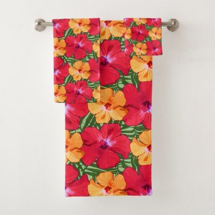 Tropical Hibiscus Floral Pattern in Red and Orange Bath Towel Set - floral style flower flowers stylish diy personalize