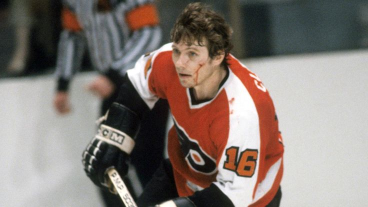 Bobby Clarke powers up the ice with a cut face. He was the face of the Flyers, and one of the most important pieces to their success.