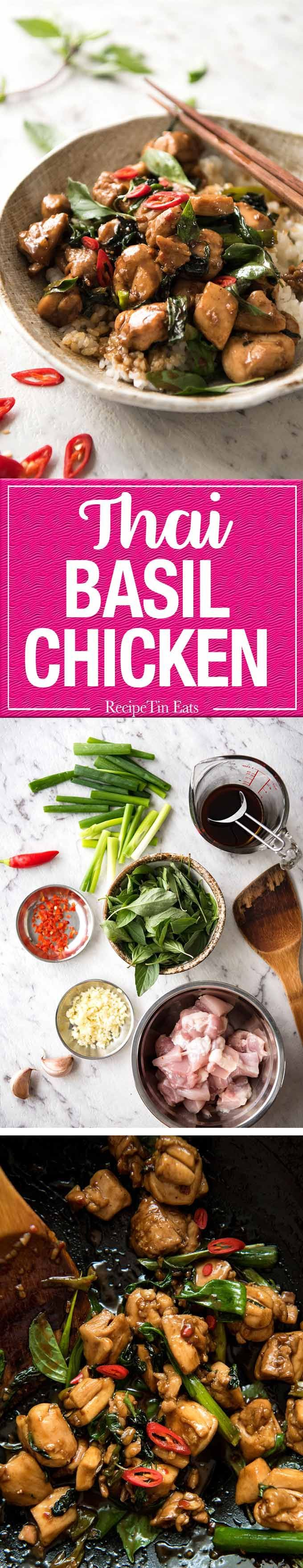 An authentic Thai Chilli Basil Chicken recipe, just like what you get from the best Thai restaurants! www.recipetineats...