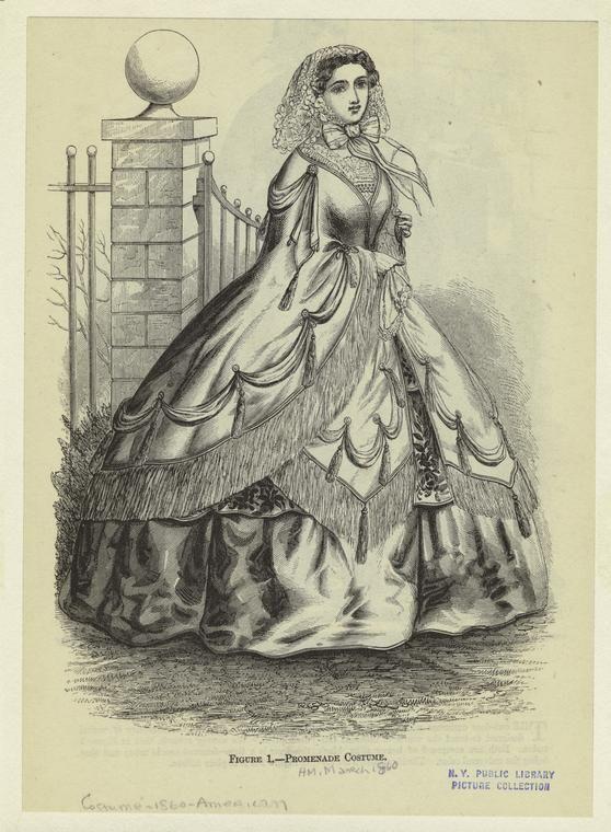 Fashion plate, Promenade Costume. Harper's Magazine, March 1860. NYPL Digital Gallery.