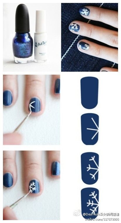 Snowflakes nail ideas for upcoming winter, Diy winter nail design at home