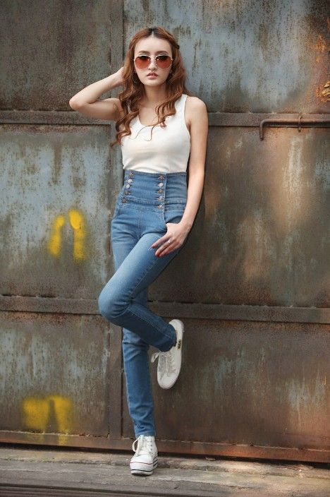 High Waisted Jeans - A cool take to the classic denims. www.kawaiikawaii.my #high_waisted_jeans #high_waisted_pants #denim_jeans #jeans_for_women #womens_jeans