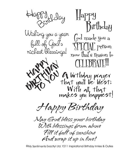 "My Sentiments Exactly Clear Stamps 4""X6"" Sheet-Inspirational Birthday"