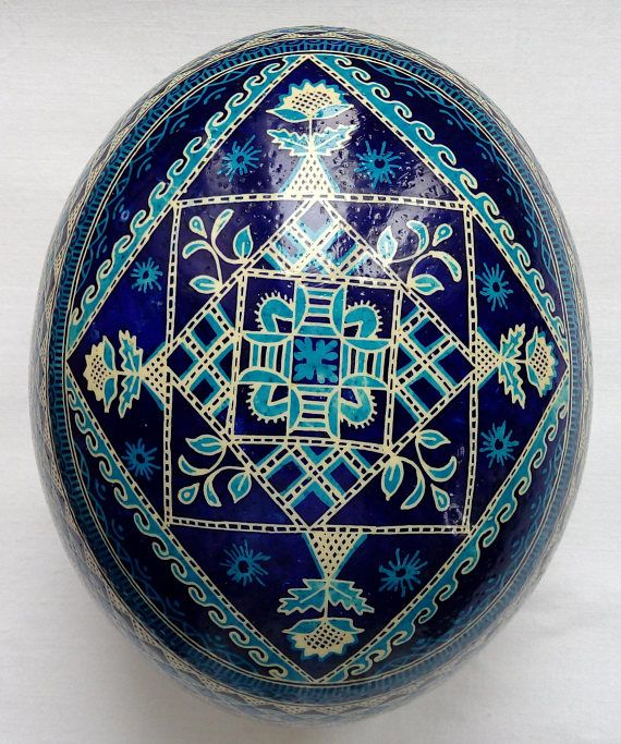 Real Ukrainian hand made painted Ostrich Pysanka Easter Eggs
