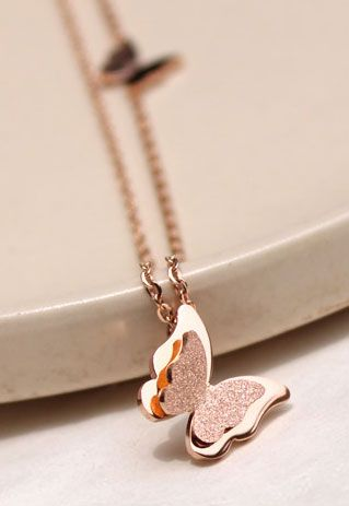 Gold Tone Butterfly Pendant Adjustable Chain Necklace