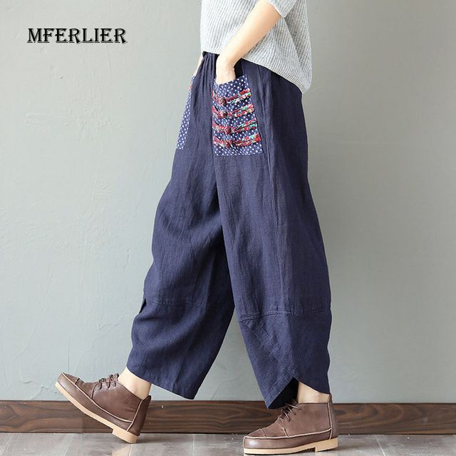 Affordable Price $15.33, Buy Woman Trousers Cotton Linen Loose Trousers Wide Leg Pants Elastic Waist Vintage Womens Casual Harem Pants
