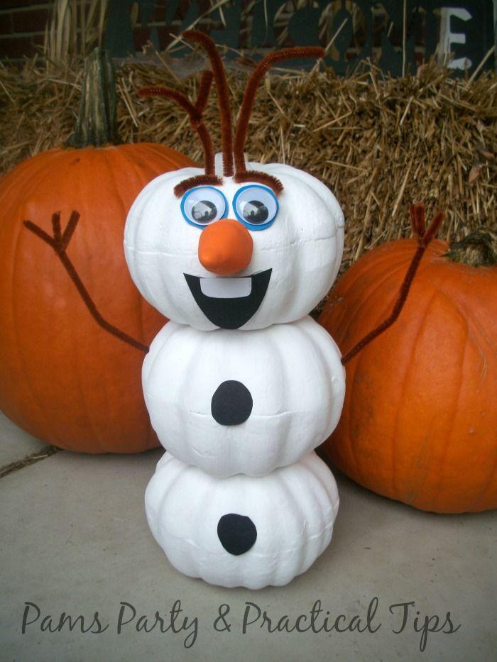 Olaf Pumpkin for Halloween. How to make an Olaf pumpkin for Halloween- so cute and easy!