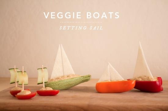 These veggie boats would be great snack foods for a pirate party! All I know is when you turn food into little boats it is makes it a million times more adorable.