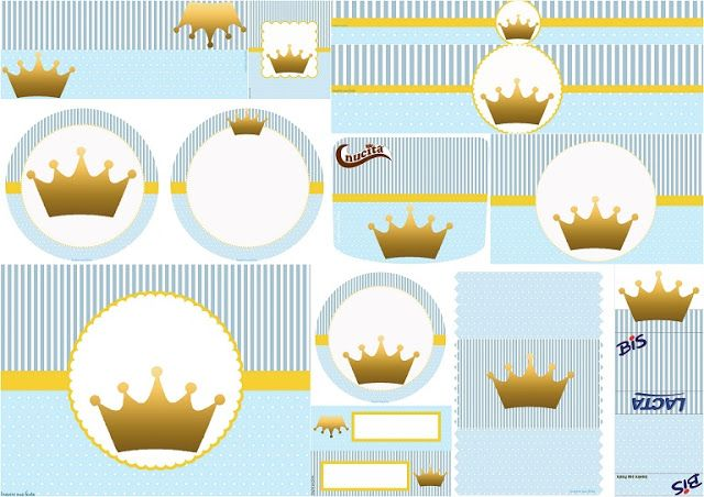 Crown in Light Blue: Free Printable Candy Bar Labels.
