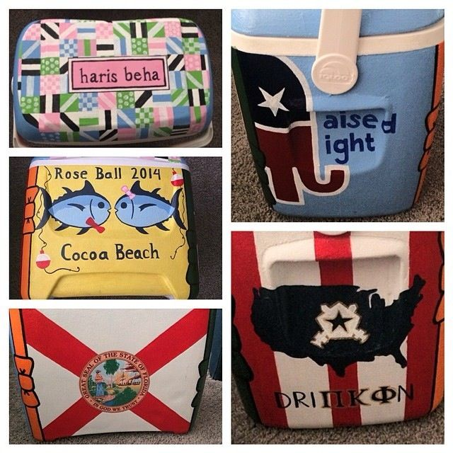 Painted fraternity cooler for Pi Kapp Rose Ball
