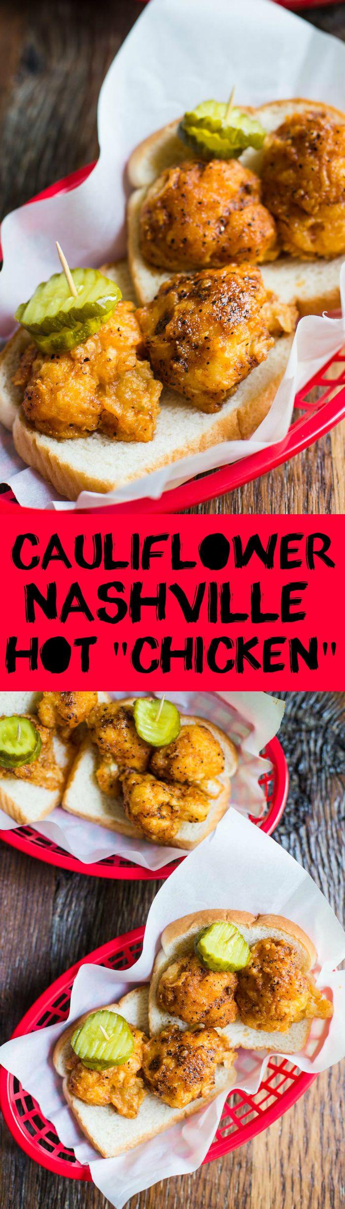 """Cauliflower Nashville Hot """"Chicken""""- VEGAN and SO delicious!!"""