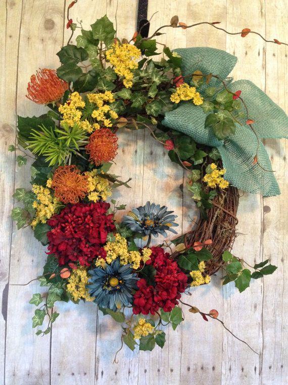 Summer Door Wreath Front Door Wreath Summer Wreath by spratsdesign